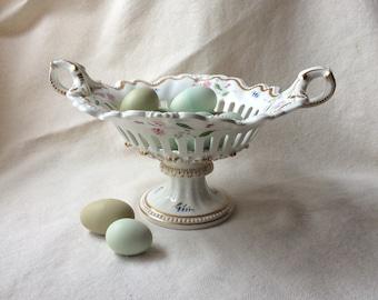 Antique French Porcelain Basket - Urn Form Center Bowl -GentlemanlyPursuits
