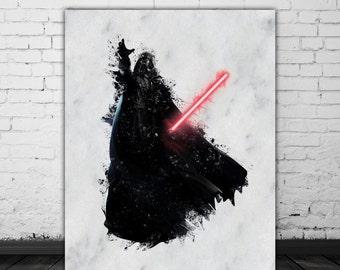 Darth Vader Print, Star Wars Watercolor Splash, Darth Vader Painting Print, Star Wars Print, Sith Anakin Skywalker, Darth Vader Poster