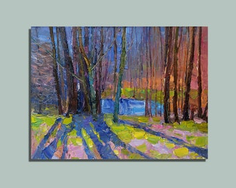 Spring Painting Oil Painting Landscape Painting Palette Knife Painting Original Painting Wall Art Decor Birthday Gift Anniversary Gift