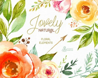Lovely Natural. Separate floral Elements. Watercolor Clipart, peony, flourish, arrows, flowers, wedding, country, boho, romantic, bridal