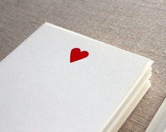 Flat Card Set with Letterpress Heart (vertical)