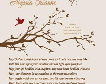 Confirmation Gift for Girl-Goddaughter Granddaughter Daughter Niece Sister Confirmation Gift-May God Walk Beside You Personalized Poem