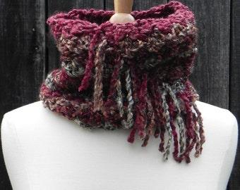 Chunky Cowl Scarf Tube Scarf Neckwarmer Scarfette Shabby Chic Rustic Earth Tones hand knit crochet