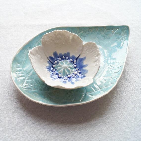 POPPY bowl and LEAF platter set