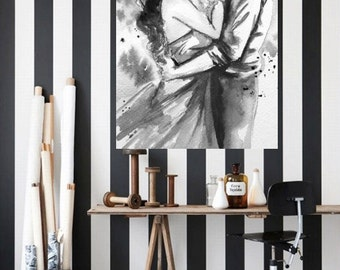 Wedding Gift, Anniversary, Love Romance Kiss Print, Watercolor Painting by Lana Moes, Black and White, Home Sweet Home, Bedroom Decor