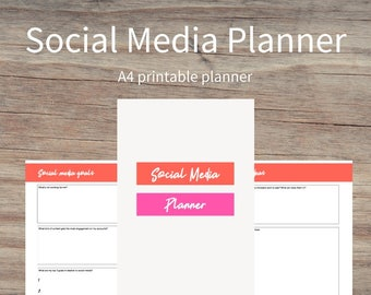 SOCIAL MEDIA PLANNER, business planning, online business, printable planner, printables, A4, pdf, digital download, social media accounts