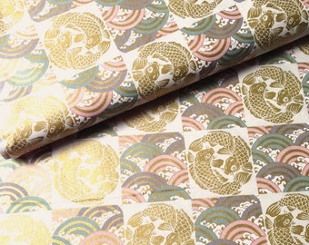 Japanese fabric, traditional carp, background, unbleached, cotton 110 x 50 (293 (A)