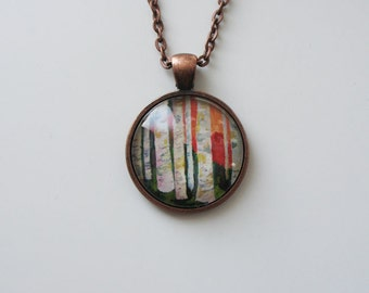 Birch Trees - mini print necklace pendant and chain