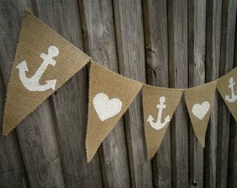 Anchor Banner Heart Banner Wedding Banner Beach Decor Nautical Banner Birthday Banner Beach Party Banner Beach Garland Beach Anchor Decor