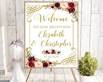 Floral Burgundy Welcome To Our Reception Wedding Sign, Custom Welcome Reception Printable Welcome Sign, Floral Boho Chic Wedding, #LC