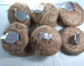 Majestic Mohair Light Brown Yarn, 11 Skeins, Made in England