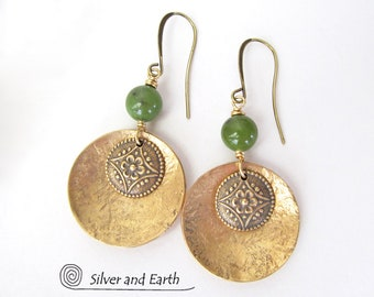 Gold Brass Dangle Earrings, Green Jade Earrings, Flower Earrings, Green Stone Earrings, Handmade Nature Jewelry, Nature Gifts for Her