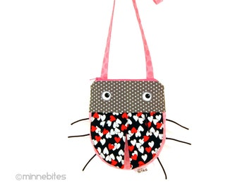 Love Bug Toddler Purse - First Birthday Gift - Cross Body Purse - Pink Ladybug - Little Girls Hearts Purse - Cute Handbag - Ready to Ship