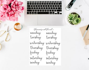 Days of the week planner stickers (lower case)