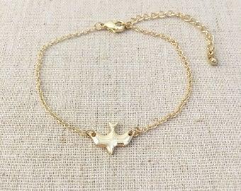 Gold Dove Bracelet, Gold bracelet, Layering bracelet, Delicate bracelet, Dainty bracelet, Bridesmaid gift, Wedding gift