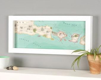 Bali Indonesia Hand Drawn Map Location Print - Indonesia Map - Kuta map - Denpasar - bombus map - Lombok framed map