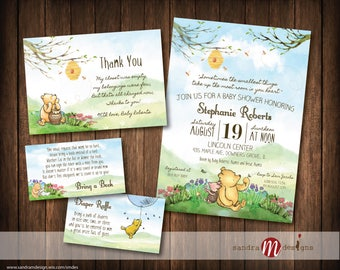 Classic Winnie the Pooh Baby Shower Invite, bring a book card, diaper raffle, thank you card