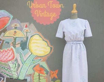Vintage Pale Blue Circle Lace Appliquéd Belted Dress (Size Small/Medium)