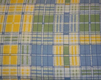 100% Cotton Fabric Yellow, Blue, Green and White Plaid