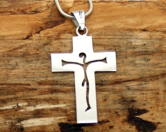 Sterling Silver Open Cross Pendant and Chain - 925 Silver Pendant - Handmade Jewellery - Silver Cross - (AAP020)