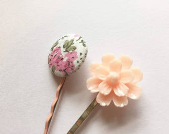 Vintage Fabric Button and Flower Hair Clips - 2 Assorted Colours Hair Bobby Pins.