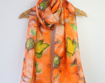 Orange Floral Silk Scarf - Floral Orange Silk Scarf - Gray Floral Silk Chiffon Scarf - Floral Silk Scarf - AS2015-45