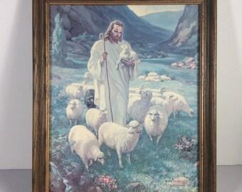 Warner omayma 1943 Jésus perdu Lithographie impression agneau des années 1970