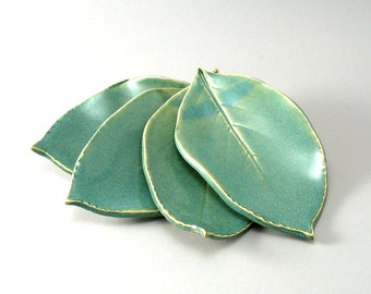 Four Small Leaf Plates Made from Leaves Impressed in Clay Slabs and Finished in a Pearl Green Glaze-Oven and Dishwasher Safe