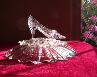 Fairy-tale Princess Crystal Cinderella Glass Slipper on Iridescent Celestial Bowl, Wedding Shower Reception Sweet 16 & Centerpiece