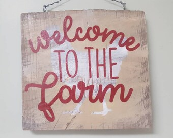 Farmhouse welcome sign, rustic wood welcome sign, rustic wall decor, farmhouse decor, farmhouse sign,  distressed wood sign, reclaimed wood