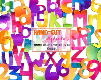 Funky Watercolor Alphabet, Digital Clip-Art, png , INSTANT DOWNLOAD, CU, alpha, Die-Cut, Numbers, Art Journaling, Collage, Card-Making