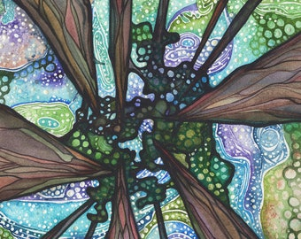 Beneath Magic 13 x 19 print of ancient sequoia redwoods trees painting, forest sky cosmos galaxy psychedelic northern lights aurora borealis