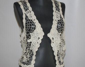 BOHO ivory crochet vest Hippie cotton knit vest Floral macrame vest Rustic Romantic festival vest Beach Cover Up Bohemian summer wrap