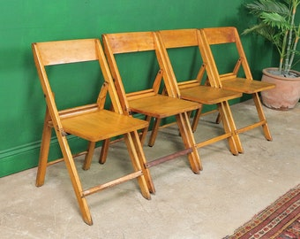 4 Vintage Folding Chairs, Kitchen, Dining, Garden, Handmade, Retro, Rustic, Balcony, Party