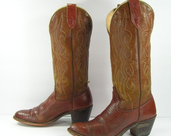 vintage cowboy boots women's 7.5 M B brown leather cowgirl Laredo heel lizard print country