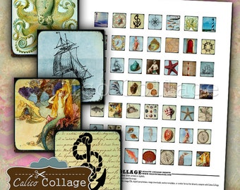 Nautical Digital Collage Sheet Scrabble Images for Pendants, Decoupage, Mixed Media, Altered Art, Bezel Settings, Cabochons, Craft Paper