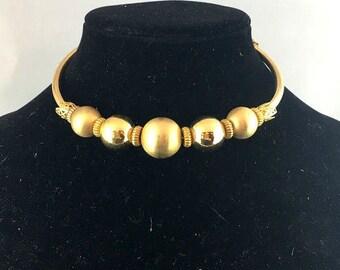 Vintage 1950s Vendome Gold Tone Bead Collar Choker Necklace