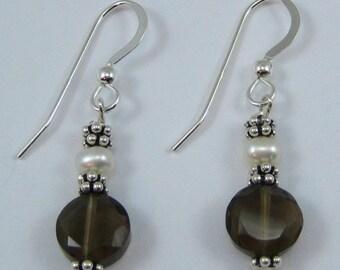 Smoky Quartz and Pearl Earrings (E97)