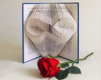 Folded Book Art Featuring an Infinity Symbol - Great Wedding Gift for the Book Lover