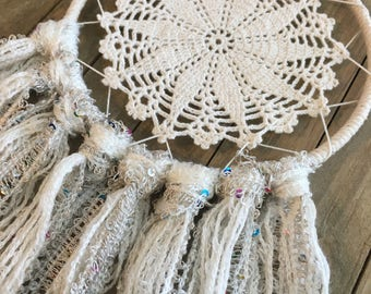 Cream and Rainbow Sequin Doily Dreamcatcher