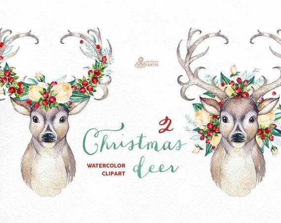 christmas deer 2 watercolor deers antlers flowers hand painted clipart reindeer floral invite country diy clip art horns holiday - Reindeer Images 2
