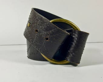 """CLAUDIA ORCHANI Vintage Brown leather Belt Made in Italy 80 cm US 32"""""""
