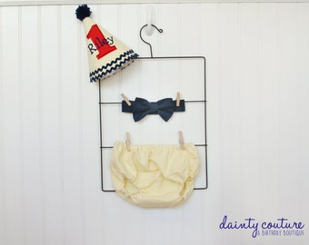 First Birthday Hat, bow tie, diaper cover - First Birthday Outfit - Yellow, red, navy - Free personalization