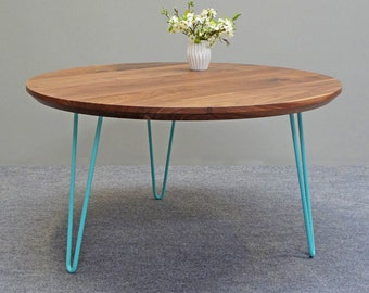 Mid century walnut coffee table/ Solid walnut table/ Round table/ Scandinavian design/ Retro table / Low table