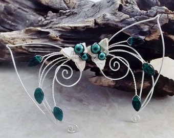 Emerald Elf Ear Cuff Wraps Pair or Single, Bridal Ear Cuff, Fairytale Irish Wedding