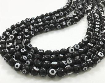 6mm Black Evil Eye Beads, Round Glass Beads, Wholesale Beads