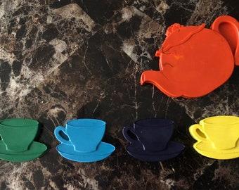 Tea party coloring crayons