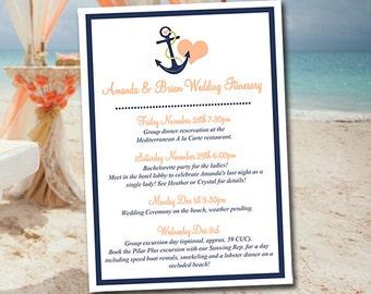 "Beach Wedding Itinerary Template Wedding Planner ""Anchor Love"" Drk Navy Persian Melon Destination Wedding Coordinator Wedding Guest Gift Bag"
