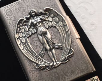 Antiqued Silver Angel Business Card Case Steampunk Card Case Gothic Victorian Card Case Metal Card Wallet Angel Wings