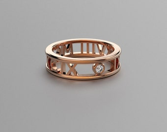 Rose Gold Round Diamond Roman Numeral Ring - 14k, 18k Rose Gold. Valentine's Day Gift for Couples. Wedding & Anniversaries